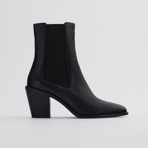 NWT. Zara Leather Heeled Cowboy Ankle Boots Size 8